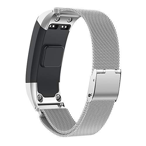 NotoCity Kompatibel Vivosmart HR Armband Uhrenarmband Einstellbare Freie Größe Schnellverschluss Armband Fitness Tracker Smart Uhrenarmband Ersatzband Armband (Silber,S)