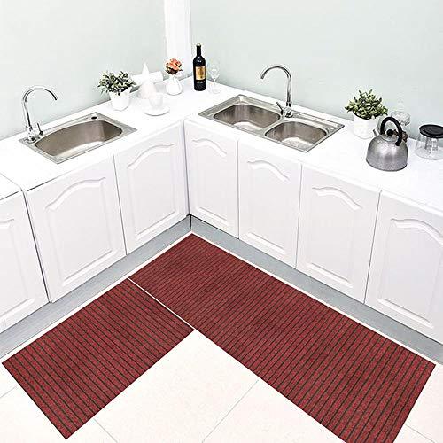 JJZZ Sieben gestreifte Fußmatten Küchenhaushalt rutschfeste Fußmatten Öl- und wasserdichte...