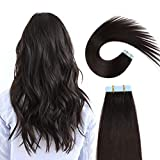 SUYYA Tape in Hair Extensions Natural Black 100% Remy Human Hair 20 inches 20pcs 50g/pack Straight Seamless Skin Weft Tape in Extensions Human Hair(20 inches #1B Off Black)