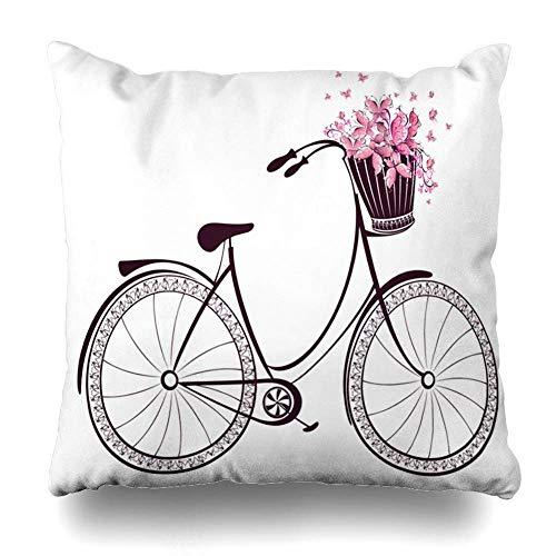 Egoa Cushion Cover Geïsoleerde pedaal fietsmand mode volle bloemen plezier vlinders transport vintage objecten decoratieve kussensloop boekhandel kussensloop huis vierkant gezellig wonen