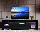 Modern TV Stand - Home TV Cabinet with Clolorful Lights and Storage Drawer, Entertainment Center for up to 60-inch TV Living Room (Black)