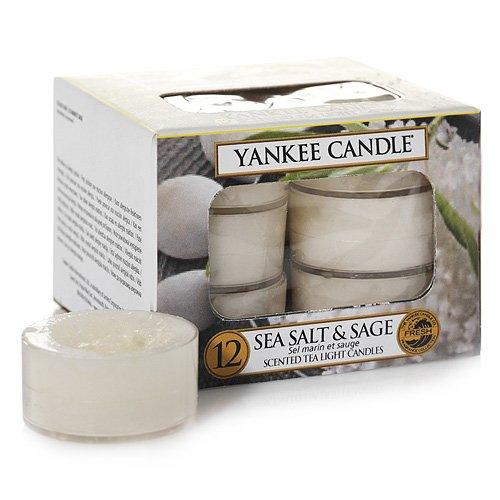 YANKEE CANDLE Meer Salz und Salbei Teelichter 12 Stück Duftkerzen, Plastik, weiß, 8.8 x 8.5 x 6.3 cm