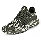 Feetmat Women's Running Shoes Non Slip Lightweight Sneakers Breathable Mesh Sports Athletic Walking Work Slip Resistant Shoes Camouflage Green 7 M