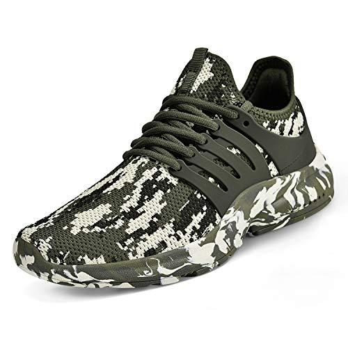 ZOCAVIA Herren Damen Turnschuhe Schuhe Ultraleichte Laufschuhe Atmungsaktive Outdoor Sportschuhe Wanderschuhe Camouflage Green 42EU