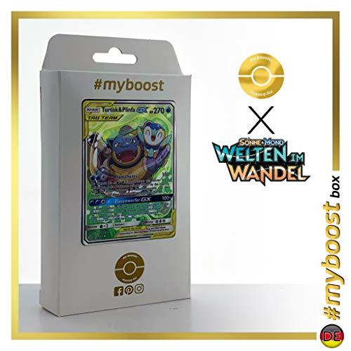 Turtok & Plinfa-GX (Blastoise & Piplup-GX) 215/236 Alternative Full Art - #myboost X Sonne & Mond 12 Welten im Wandel - Doos met 10 Duitse Pokémon-kaarten