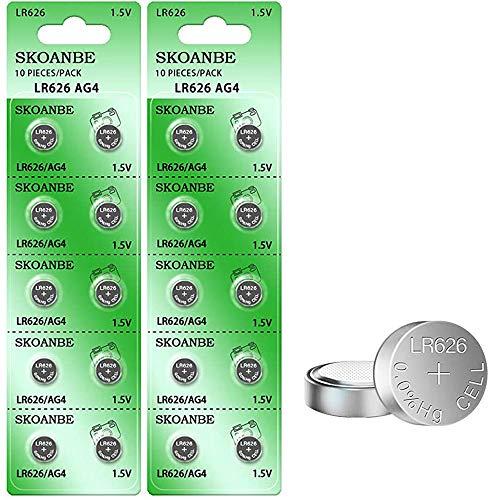 SKOANBE 20Packs SR626SW LR626 AG4 377 1.5V Watch Battery