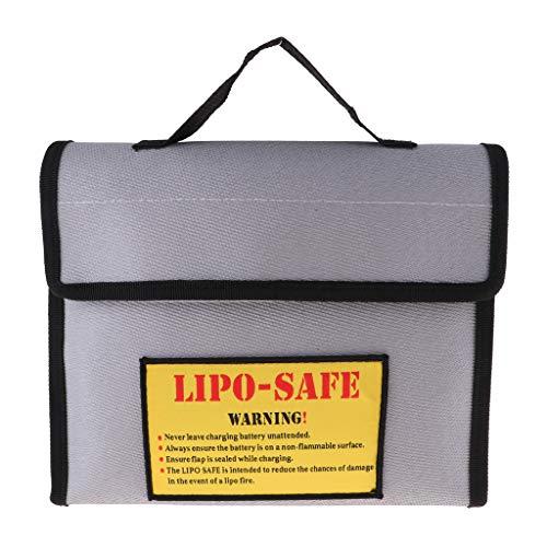 perfeclan Bolsa de Seguridad para Batería de Lipo a Prueba de Incendios Y Explosiones para Un Almacenamiento Seguro de La Carga - Estilo 2 Plata + negro