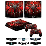 PS4 Slim Skins - Decals for PS4 Controller Playstation 4 Slim - Stickers Cover for PS4 Slim Controller Sony Playstation Four Slim Accessories with Dualshock 4 Two Controllers Skin - Spider Man