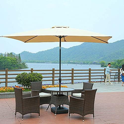 Sombrilla de patio rectangular 9.8 pies x 6.5 pies, sombrilla exterior para mesa de patio, sombrilla de playa con inclinación / manivela, 6 varillas, impermeable, altura: 8.2 pies, rojo, azul, beige