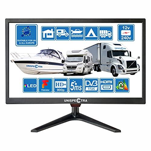 20 Zoll (51cm) TV 12V / 240V HD+ LED Digitaler DVB-T/T2 (Frei Empfangbar) TV USB PVR & Mediaplayer ideal für Heim, Wohnmobil, Boot, Wohnwagen, Camping, LKW von Unispectra® (TV)