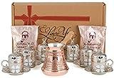 Turco griego juego completo de café con porcelana tazas, platillos y soportes de metal grabado & Tapas, cobre jarra para café y café para 6 Silver Cups with Copper Pot & Coffee