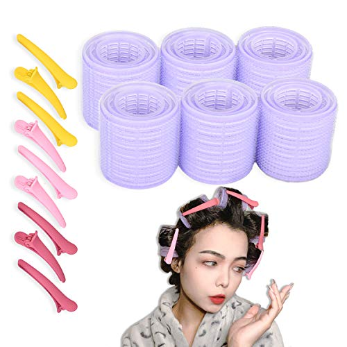 Self Grip Hair Rollers Pro Salon Hairdressing Curlers With Three Size Includes 18 Pcs Hair Curlers And 8 Pcs Duckbill Clips for Women Men Kids...
