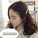 CHIMERA Hair Clips Simple Alloy Clips with Five Pearls Auto Clasp Barrettes Hair Pin for Ladies