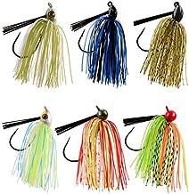 JSHANMEI Bass Fishing Jigs Swim Jig Fishing Lures, Silicone Skirts, Weedguard System, Metal Lead Head Mix Color Fishing Jigs Kit (6PCS)