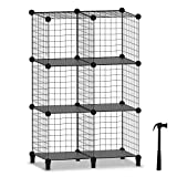 Wire Cube Storage, Storage Shelves 6 Cube Bookshelf Bookcase Closet Organizer and Storage, Wire Storage Shelves Multi-Use DIY Storage Cube Shelf for Books, Toys, Clothes, Tools