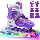 Children Inline Skates, PETUOL Kids Adjustable Roller Skates with Full Wheels Light Up for Girls and...