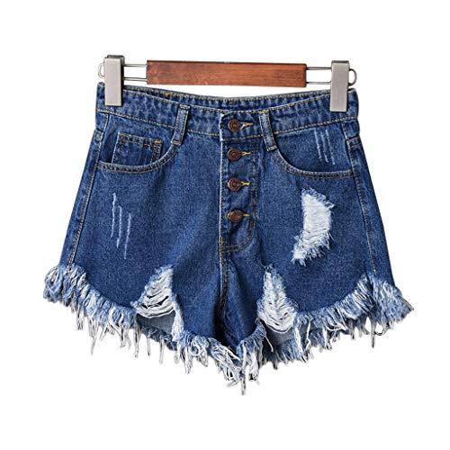 ruiruiNIE Jeans Donna Sexy a Vita Alta con Strappi Jeans Strappati Pantaloni Corti Denim Estate con Grandi Dimensioni - Blu Scuro-L