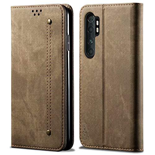 CHZHYU Handyhülle für Xiaomi Mi Note 10 Lite,Premium Leder Flip Doppelte Schutzhülle Hülle Cover[Kartenfächer][Magnetverschluss][Standfunktion] für Xiaomi Mi Note 10 Lite (Khaki)