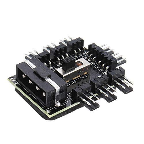YWF Kit de electrónica Fan HUB Molex Splitter PC Cable de minería 12V 4P Fuente de alimentación Refrigerador Controlador de Velocidad del refrigerador Adaptador 1 a 8 3PIN para máquina