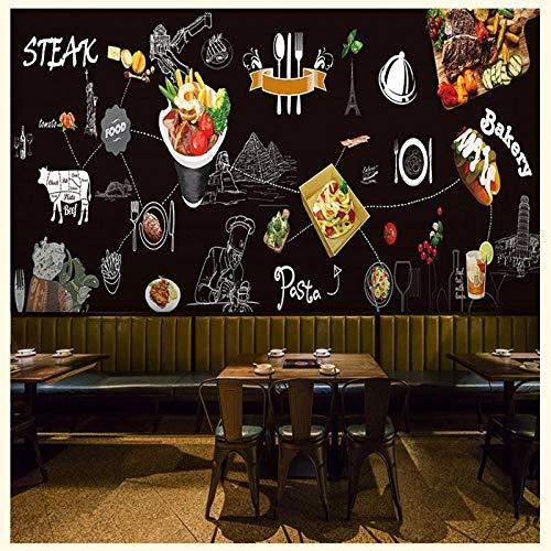 XLXBH Zelfklevende wandfoto, 3D-papier, industriële stijl, bisteak, vesten en gips, graffiti-Murale Koreaanse manzo bar Ristorante Fast Food Fotobehang voor muren en uf 250x175 cm (LxA) 5 strisce - autoadesive