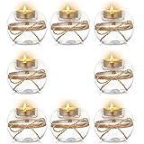 Nuptio Portavelas Tealight de Vidrio Transparente de 8 Piezas, 2 Tipos de Uso Portavelas Votivo, Decoración de Mesa Regalo Ideal para Bodas, Fiestas, Eventos