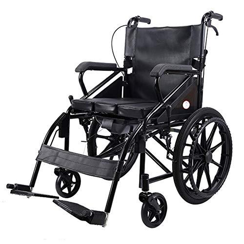 YHANX Qollstoel stalen rolstoel draagbare reistrolstoel, opklapbaar lederen toilet, zitbreedte 46 cm, nettogewicht 17 kg, geschikt voor oudere mensen en mensen in nood (kleur: zwart) Qollstoelen
