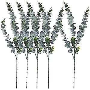 """Silk Flower Arrangements Beebel 5 Pcs Artificial Eucalyptus Shrubs Plants 29.5"""" Tall Branches Faux Flowers Fake Leaves Artificial Greenery Stems for Indoor Outside Home Garden Wedding Party Floral Arrangement Decor"""