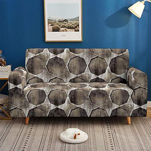 Funda de sofá de 2 Plazas Funda Elástica para Sofá Poliéster Suave Sofá Funda sofá Antideslizante Protector Cubierta de Muebles Elástica Patrón de mármol marrón Funda de sofá