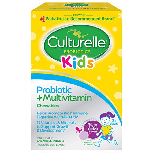Culturelle Kids Probiotic plus Complete Multivitamin Chewable | Digestive and Immune Support | Contains Vitamins C and Zinc to help support kids immune systems , Multi , Fruit, 30 Count