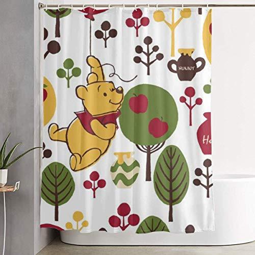 Sabalone Duschvorhang Winnie The Pooh Kunstdruck, Badezimmerdekorationssammlung aus Polyestergewebe mit Haken 60X72 Zoll