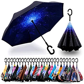 Spar Saa Double Layer Inverted Umbrella with C-Shaped Handle Anti-UV Waterproof Windproof Straight Umbrella for Car Rain Outdoor Use