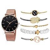 MTRESBRALTS - Reloj de moda femenino con correa de acero inoxidable, reloj de vestido, para mujer, gran esfera de cuarzo, pulseras múltiples, con regalos, caja rosa y negro