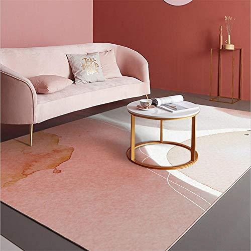 Alfombras decoración de habitación Alfombra Suave de diseño Minimalista Blanco Rosa fácil de Limpiar Alfombra Pelo Corto Salon alfombras Pelo Corto Salon 160X230CM
