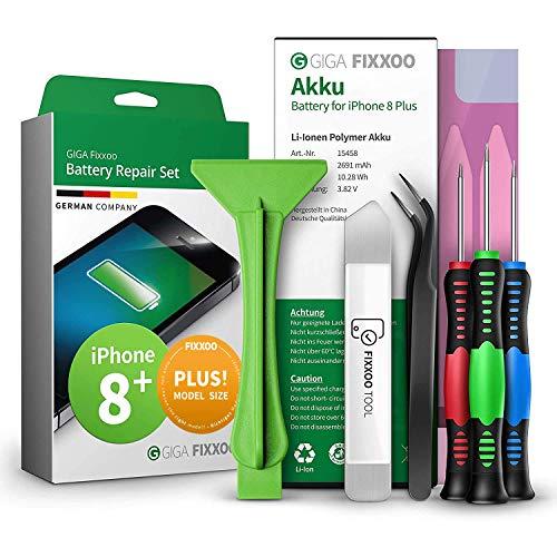 GIGA Fixxoo Reparatur-Set für iPhone 8 Plus Akku | Kapazität wie Original-Akku | Ersatz-Akku mit Werkzeug-Kit für einfachen Austausch mit Anleitung bei defekter Batterie | Langlebiger Akku iPhone 8+