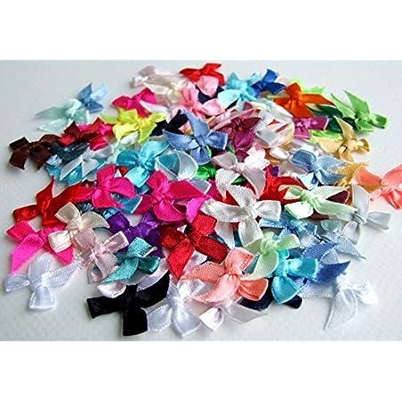 TaoNaisi 100 mini nœuds papillons en ruban de satin pour décoration, mariage