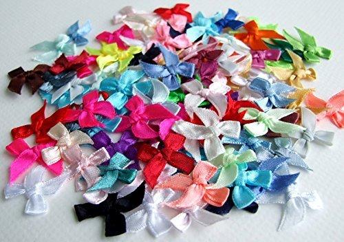 TaoNaisi 100Satin-Schleifen Mini gemischt Verzierung Craft Künstliche Aufnäher Hochzeit