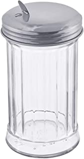 Glass Sugar Dispenser by Tezzorio, 12-Ounce Glass Sugar Pourer with Side Flap Top, Sugar Shaker with Stainless Steel Self-Closing Lid, Retro Style Glass Jar Sugar Dispenser