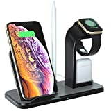 Wireless Charger, Acokki 3 in 1 QI Fast Charger Phone Holder Compatible with Airpods iPhone Samsung, Wireless Charging Holder Work for iWatch Series 4/3/2/1(Black)