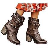 FACAIAFALO Botas Invierno Mujer Botas Camperas Para Mujer Zapato De TacóN Con Hebilla Hasta Botas Vaqueras De TacóN Bajo Zapatos De Cuero Artificial Sin Cordones Slip-On Botas Altas De Vestir