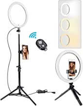 "GIM 10"" Selfie Ring Light with 59"" Tripod Stand and Phone Holder,3000-6000K LED Ring Light Kit for Live Stream/Makeup/YouTube Video/Vlogs/Desktop, Compatible with iOS Android Phone"