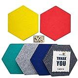 UniLiGis - Tablón de anuncios hexagonal, 6 colores, tablero de corcho de fieltro, tablero de pines, decoración de pared para fotos, notas, exhibición, incluye 18 pines, 17,8 x 15,5 x 0,8 cm, grupo...