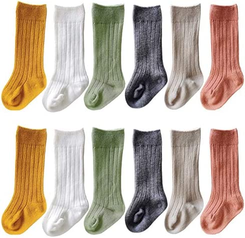 QandSweat Unisex Baby Knee High Socks Seamless Toddler Boy Girls Cotton Uniform Stockings White product image