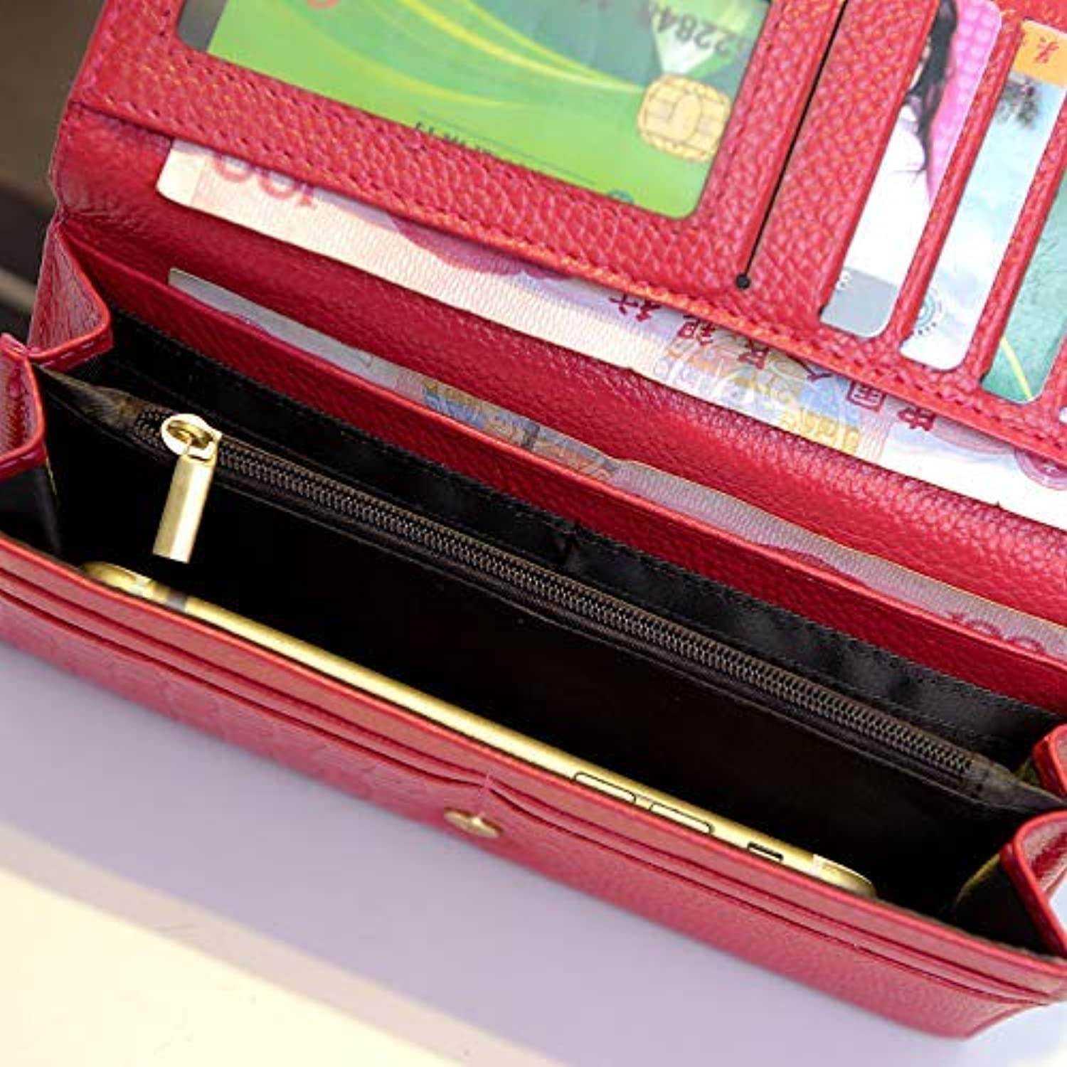 New Women's Bag Ladies Leather Wallet Long Clutch Bag Europe and The United States Wind Large Capacity Wallet (color   Pink) Ladies Purses (color   Red)