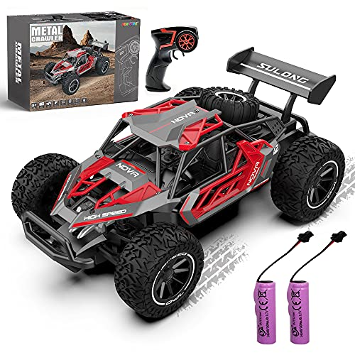 QUN FENG Remote Control Car-1:16 2WD RC Cars 22km/h Fast RC CAR Off-Road Vehicle 2.4GHz Radio Racing Cars with 2 Rechargeable Batteries Toys Gift for Boys 8-12 Years Kids Adult(Red)