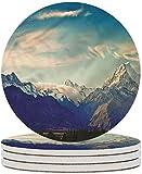 Posavasos de cerámica natural, posavasos de piedra de cerámica con picos de montaña de Nueva Zelanda con base de corcho, taza de café, mantel individual para inauguración de la cas