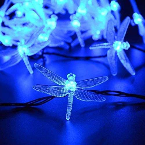 20 LED Dragonfly Waterproof Solar Outdoor String Lights, KEEDA 16ft Solar Power LED Decorative Lighting for Outdoor Garden Christmas Party Decorations Lights (Blue)