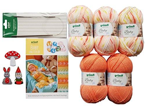 5X 50 Gramm Gründl Baby Uni/Color Wolle SB Pack inkl. Strick-Anleitung für Ein Kapuzenjäckchen, Eine Hose & Fäustlinge, Rundstricknadel und 1 Bügelflickmotiv (01 Orange Mix)