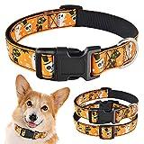 Yisatann Collares para Perros básicos Perro pequeño Mediano Grande Collar de Perro Halloween Ajustable Macho Hembra Cachorro Collar-M 31-48cm