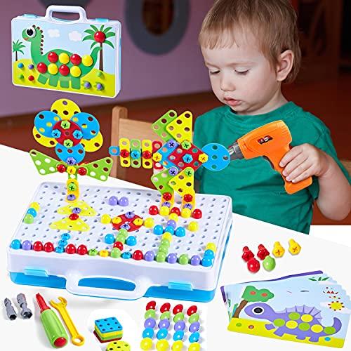 Paochocky Puzzles 3D Montessori Juguetes Bloques Construccion Rompecabezas Bricolaje Taladro Eléctrico Juguetes para Niños 3 4 5 6 7 8 9 10 Años