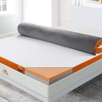 Maxzzz Mattress Topper Full 3 Inch Memory Foam Bamboo Charcoal & Copper Dual Side Mattress Topper Foam Topper with Breathable Removable Cover Ventilated & CertiPUR-US Certified Bed Topper